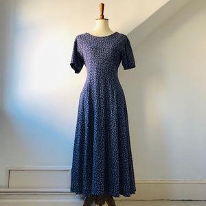 Vintage L.L. Bean Blue Floral Prairie Dress